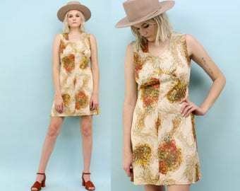 70s Brown Mini Dress, Size Medium, Polyester, Abstract Swirled Feather Print, Tan, Autumn, Fit and Flare, Psychedelic, Hippie, Nylon