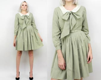 1950s Light Olive Green Dress with Polka Dots, Size Small, Petite, Peter Pan Collar, Bow Neck Tie, Avocado, Pastel Sage, Day Dress, Vintage