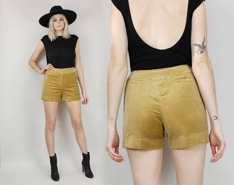 60s Velveteen Shorts, Size Small, Tan Brown, Mid Rise, Hippie Shorts, Size 26 27, Plush, JUNIOR HOUSE, Sh