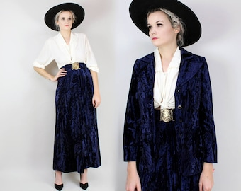 70s Crushed Velvet Suit, High Waisted Maxi Skirt with Matching Blazer, Midnight Blue, Stevie Nicks, Gothic, Fleetwood Mac, Witchy, Victorian