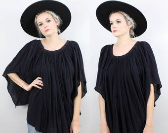 70s Black Gauze Angel Wing Blouse, Bell Sleeve, Cotton, Angel Wing, Batwing, Vintage Peasant Top, Oversized, Sheer, Hippie, Boho, Festival