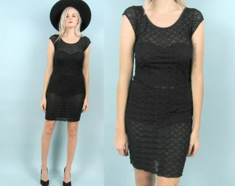 90s Sheer Black Mini Dress, Size Small, Vintage New Years Party Dress, Knit, Crocheted, Goth, Slinky, Stretchy, Gothic, Grunge, Minimalist