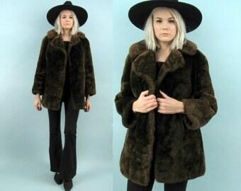 60s Brown Fur Coat, Heavy and Warm Winter Coat, Swing Coat, German Made, ECHT PELZ, Size Medium, Oversized, Chocolate, Large, Beaver Fur