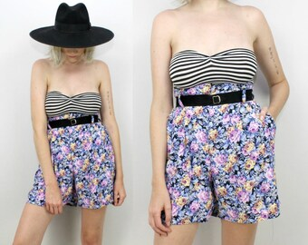 80s Floral High Waisted Shorts, Rayon, Paper Bag Shorts, Size Small Medium, Size 28 Waist, 90s, Blue Purple, Loose,