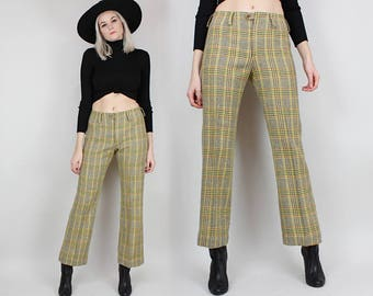 60s Plaid Wool Pants, Size Medium Small, Size 27 28, Yellow and Brown Plaid, Mid Rise, Slacks, Trousers, Boot Cut, Straight Leg, 1970s