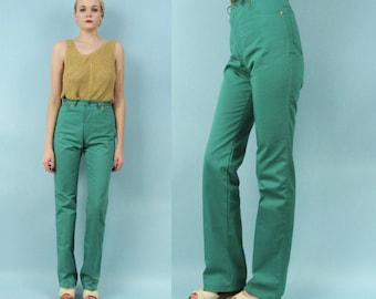 70s High Waisted Flared Denim Pants, Teal, Blue Green, Size Small, Straight Leg, Colored Jeans, Size 26