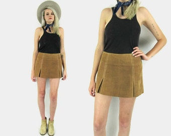 SALE---90s does 70s Leather Suede Mini Skirt, Mid Rise, Brown Suede Skirt, Hippie, Boho, Festival, Size Small, 90s Does 60s