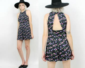 90s Floral Romper With Cut Outs, Empire Waist, Size Small, Black, Pink, Sleeveless, Summer, Grunge, Ditsy, One Piece Playsuit, Jumper