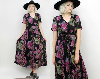 90s Lace and Floral Maxi Dress, Black, Size Small Medium, OLIVIA, Pink, Purple Roses, Vintage Summer Dress, Indian Cotton, Grunge, Ditsy