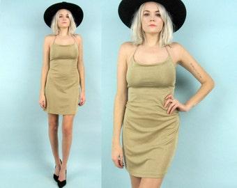 90s Gold Halter Dress, Vintage Nude Mini Dress, Size Small, Body Con, Stretchy, Tan, Club Kid, Raver, Disco, Metallic Gold, Sparkly, Glitter