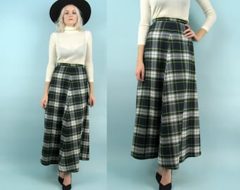 70s Plaid Wool Skirt, Vintage High Waisted Maxi Skirt, Size Small, Extra Small, XS, Green, Blue, Holiday Christmas, Scotland, Moffat, 25