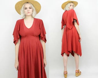 70s Clay Red Asymmetrical Dress Flutter Sleeves, Dramatic, Size Small, Fall, Hippie, Jewel Toned Vintage Dress, Full Skirt, Retro, Red Brown