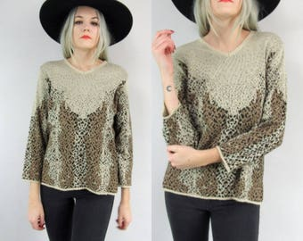 80s Abstract Animal Print V Neck Sweater Size Small Medium, Pullover, Vintage, 90s, Cheetah Print, Brown Black, Leopard Print, Fall, Knit