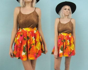 60s Orange Floral Mini Skirt, Vintage High Waisted Skirt, Full, Size Small, Extra Small, Spring, Summer, Red, Yellow, 26 Waist, 70s, Cotton
