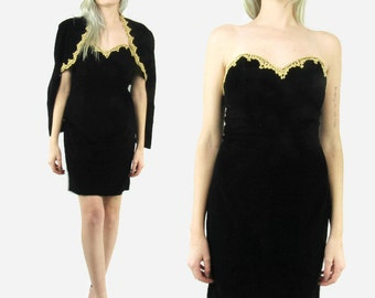 SALE--80s Strapless VELVET Black dress with Bolero Jacket, Gold Trim, Size Small, Holiday, New Years, Christmas,