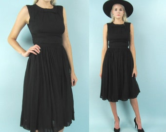 50s Sheer Black Cocktail Dress with Bows, Knee Length Party Dress, Metal Zipper, Size Small