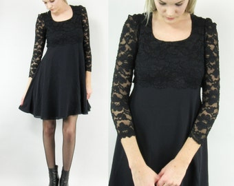 SALE--90s SheerBlack Lace Mini Dress, Black Party Dress, Size Small, Long Sleeved, Babydoll, Grunge, Goth,