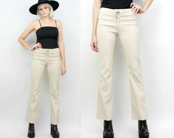 90s Lace Up Tan Pants, Khaki Stretch Pants, Boot Cut Flares, Size 27, Small to Medium, Beige, Rave, Raver, Club Kid, Mid Rise Pants
