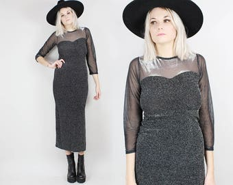 90s Sparkly Midi Dress with Sheer Sleeves and Sweetheart Neckline, Size Small, Maxi Dress, Holiday, New Years Party, Side Slit, Grunge, Goth