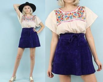 60s Purple Suede Skirt, Vintage High Waisted Mini Skirt, Size Small, Extra Small, XS, Wrap Skirt, Hippie, Boho, Western, Bohemian, Festival