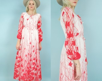 70s Gauze Cotton Maxi Dress with Red Ombre Print and Long Sheer Sleeves, Floral, Sheer, Maxi Dress, Vintage, Red, White Dress, Size Sm Med