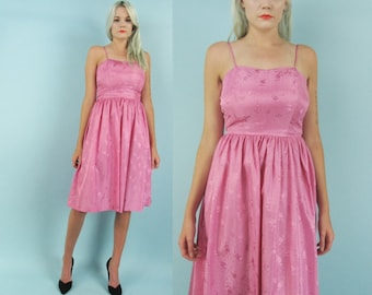 50s Pink Taffeta Party Dress, Vintage Cocktail Dress, Full Skirt, Size Small, Fit and Flare, Rose Print, Birthday Dress