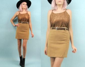 70s High Waisted Tan Skirt, Size Small, Western, Mini Skirt, Wool, Camel Brown, Belt Loops, Metal Zipper, 60s, School Uniform, Minimalist