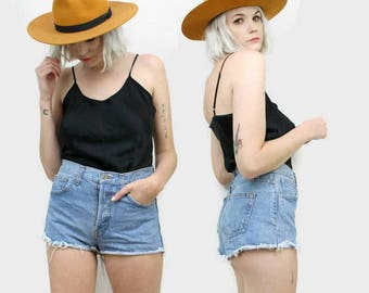 80s High Waisted Cut Off Shorts, Vintage Jean Shorts, Size Medium Small, Frayed Hem, Ultra Short, Booty Shorts, 30 Waist, Button Through