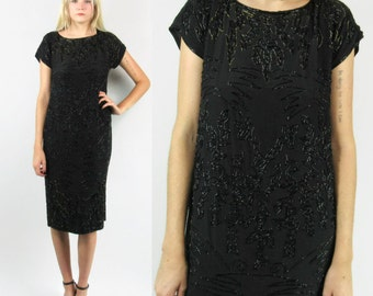 SALE--Black Silk Beaded Dress, 90s does 20s, Lady Mary of Downton Abbey, Sequined, Size Small to Medium, Holiday, Christmas Dress