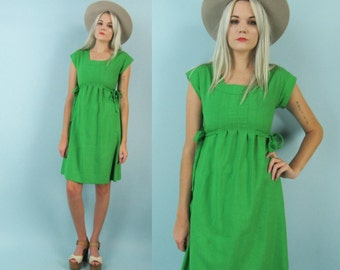 60s Green Mini Dress, Vintage Empire Waist Day Dress, Cocktail Dress, Mod, Size Small, Shift Dress, Holiday, Christmas, Spring, Mad Men