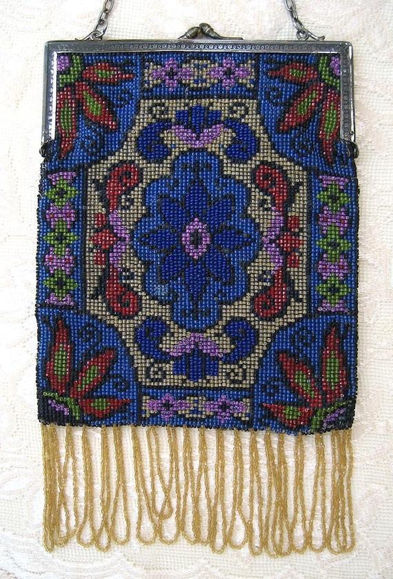 Antique Deco Large Beaded Floral Purse Handbag