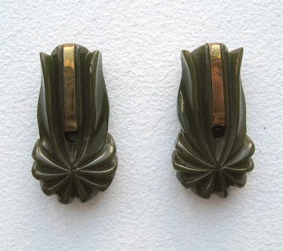 30's Carved Moss Green Bakelite Dress Clips