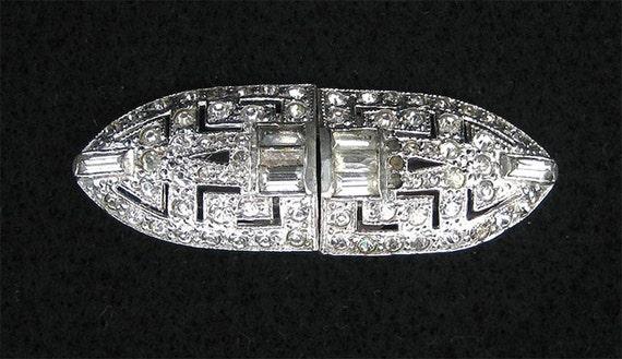 30's Art Deco Rhinestone Duette.  Pin or Dress Cli
