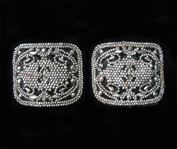 Antique French CUT STEEL Nailhead Buckles