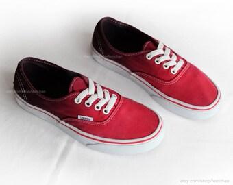 Vans Authentic Lo Pro vintage skate shoes neon red fluo  b763fe7e8
