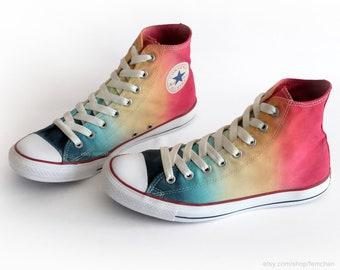 Neues Paar Frühlingsgrün Türkis Dip dye Converse All Stars