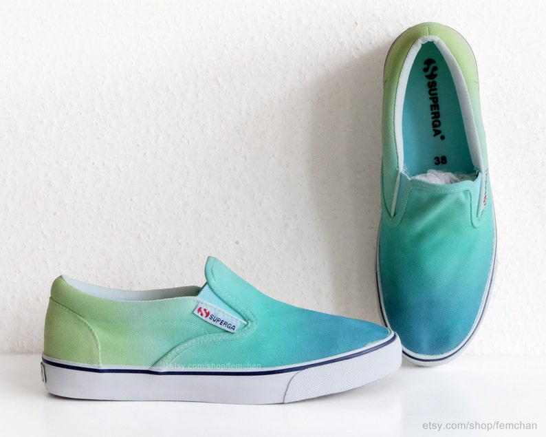 704ffb717 Nouvelle paire! Superga slip-ons, baskets basses, chaussures de skate,  dégradé vert aquamarine, pointure eu 38 (UK 5, US Men's 6, US Wo 7.5)