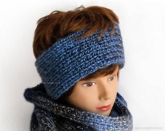 Tie dye knit headband - Ombré earwarmer made with vegan yarn - Knitted winter hair band - Soft stretchy turban - Gender neutral headband