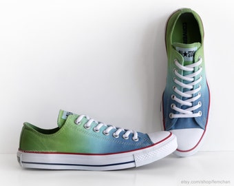 New pair! Ombré dip dye Converse, blue & green All Stars, low tops, dyed sneakers, athletic shoes, EU 42 (UK 8.5, US Wo's 10.5, Mens 8.5)