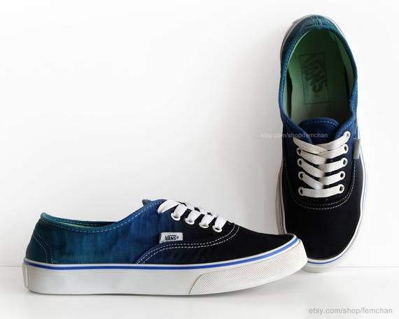Dip dye Vans Authentic, black, deep blue, ombré tie dye, skate shoes, upcycled vintage sneakers, size EU 40 (UK 6.5, us men 7.5, us women 9)