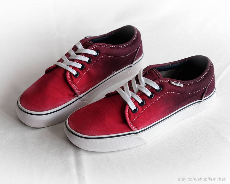 da6055749a Red ombré Vans chukka low dip dye skate shoes tie dye
