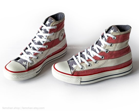 Iconic Converse All Stars in the stars and stripes patchwork design, vintage sneakers with USA flag motif, 36.5 (UK 4, us wo's 6, us mens 4)