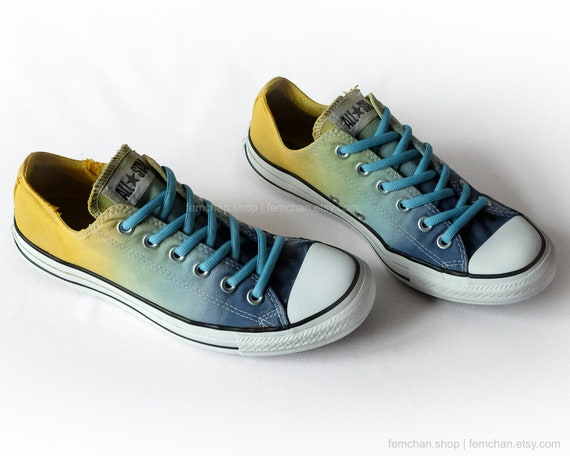 Dip dye Converse shoes, ombré All Stars, tie dye low tops, sky blue, honey yellow, upcycled sneakers size 41.5 (UK 8, US Wo's 10, US Mens 8)