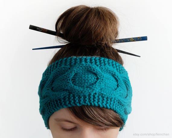 Hand stricken Kabel Haarband Stirnband grün hell Marine   Etsy