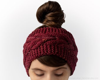 Rich red - Soft cable knit headband with tweed effect - Wool blend ear warmer, turban - Made in Belgium - More colours available!