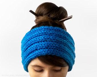 Rib knitted headband in sky blue - Soft knit ear warmer - Wide winter sports hairband - Turban headband for women - Neutral headband for men