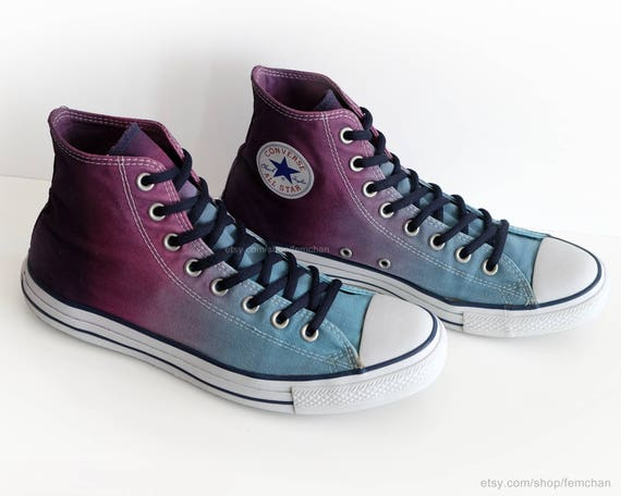 6a396fbd92f0c Ombré dip dye Converse All Stars, glacier blue, purple, wine, upcycled  vintage sneakers, high tops, eu 44 (UK 10, US mens 10, US wo's 12)