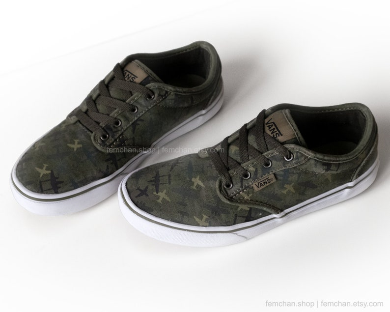 eb678d2882 Vans Atwood skate shoes with dark green camo print airplane