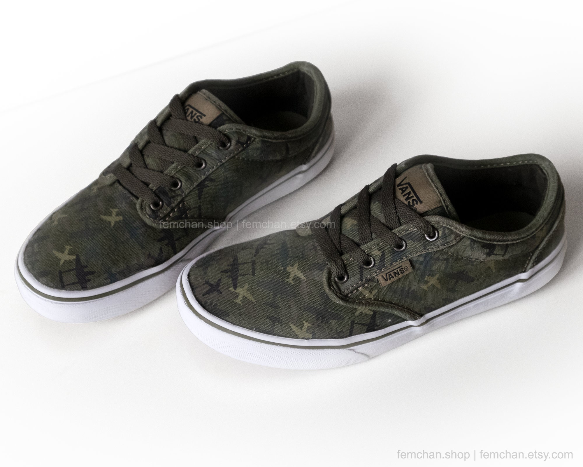 be5d0c4efc Vans Atwood skate shoes with dark green camo print airplane