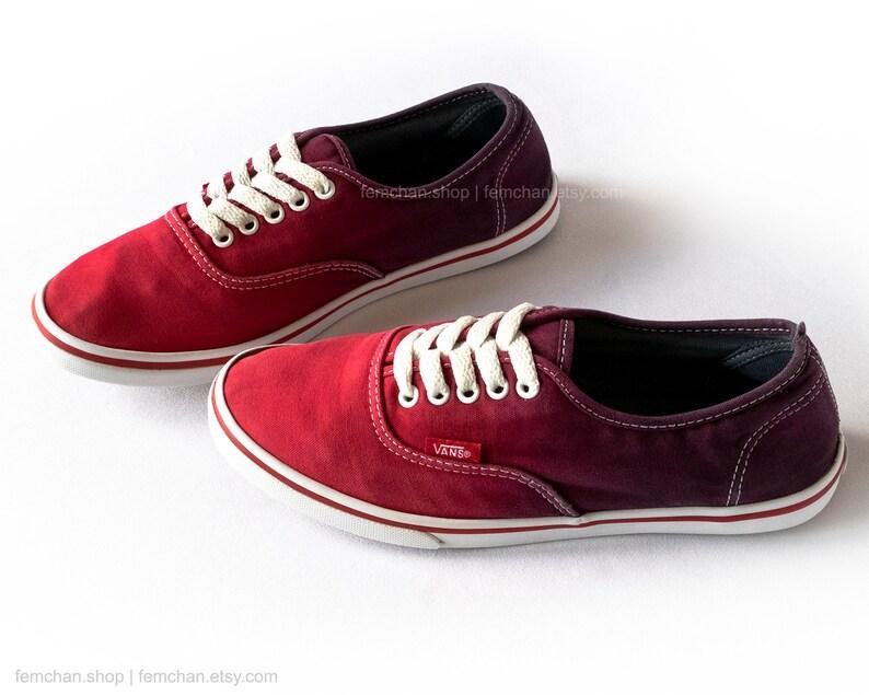 7f89357ae679b Red ombré Vans Authentic Lo Pro skate shoes, dip dye sneakers, plimsolls,  upcycled vintage sneakers, size 38 (UK 5, us women 6, us men 7.5)